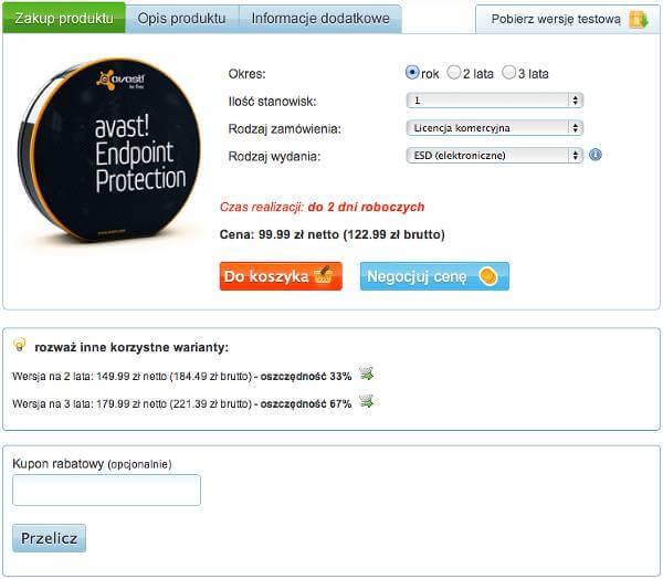 Miejsce na kupon rabatowy - zrzut ekranu ze strony produktu.