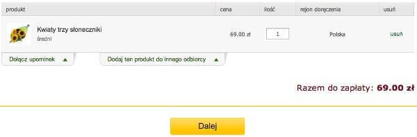 Koszyk w kwiaciarni - zrzut ekranu.