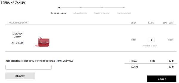a15b0889b245f Miejsce na kupon rabatowy - zrzut ekranu z procesu składania zamówienia w  sklepie.