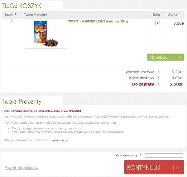 Miejsce na kupon rabatowy - zrzut ekranu z procesu składania zamówienia w sklepie.