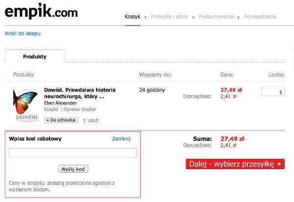 Miejsce na kupon rabatowy w koszyku - zrzut ekranu z procesu składania zamówienia w Empik.com.