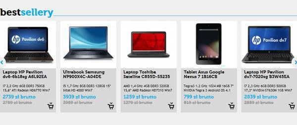 Bogata oferta w Techtop - zrzut ekranu.