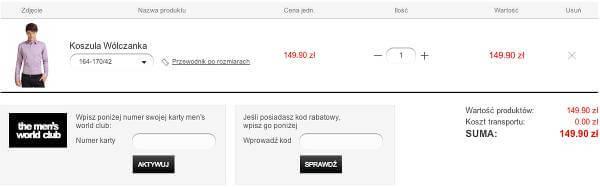 Miejsce na kupon rabatowy – zrzut ekranu z procesu składania zamówienia w sklepie.