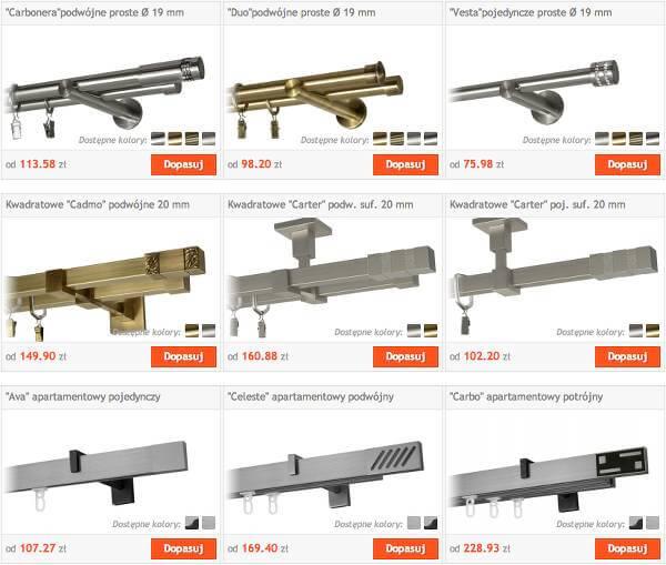 Bogaty wybór karniszy - zrzut ekranu z witryny sklepu.
