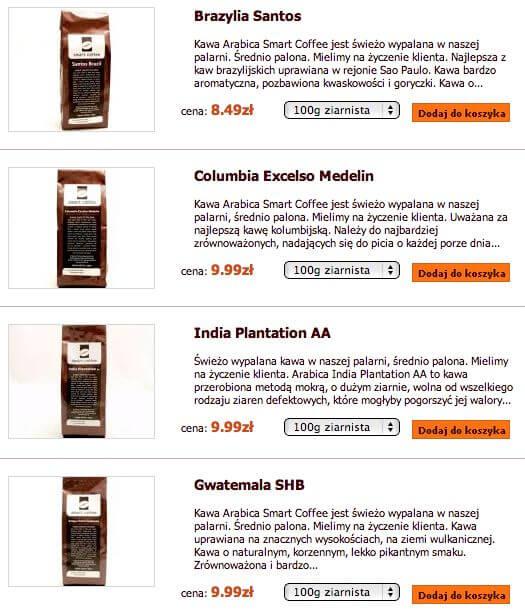 Przykładowe mieszanki dostępne w Smart Coffee - zrzut ekranu.