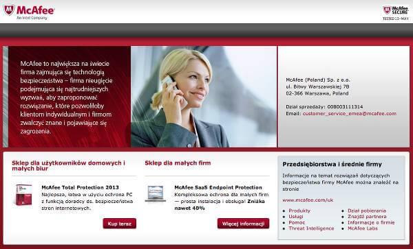 Strona główna McAfee - zrzut ekranu.