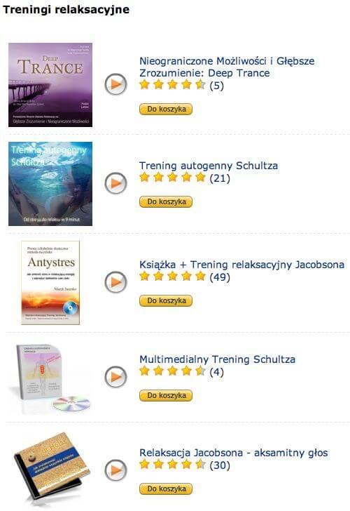 Przykładowe treningi relaksacyjne dostępne w Lavenmint - zrzut ekranu.