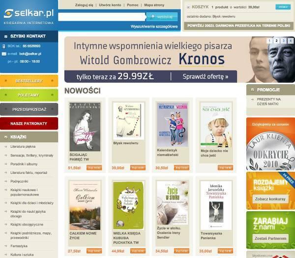Strona główna księgarni - zrzut ekranu.