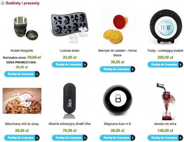 Przykładowe gadżety ze sklepu - zrzut ekranu.