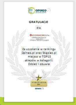 Wyróżnienie CenterSport w rankingu Opineo.