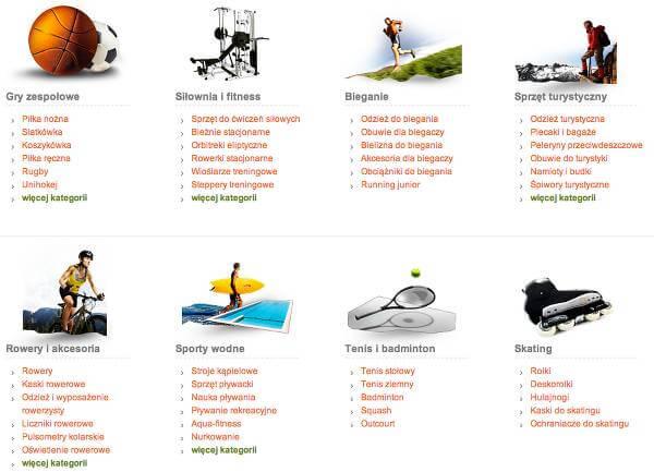 Sprzęt sportowy do każdej dyscypliny - zrzut ekranu ze strony głównej Disport.