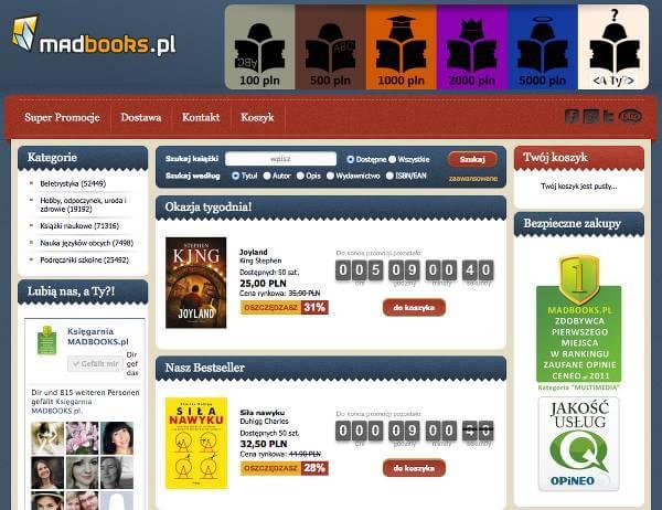 Strona główna sklepu – zrzut ekranu.