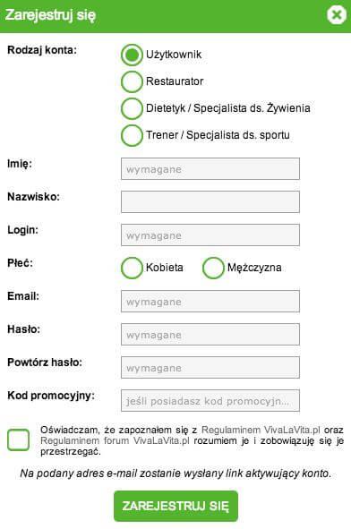 Miejsce na kupon rabatowy w formularzu rejestracyjnym w serwisie.