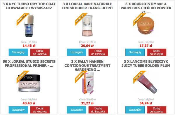 Wybrane produkty ze sklepu - zrzut ekranu.
