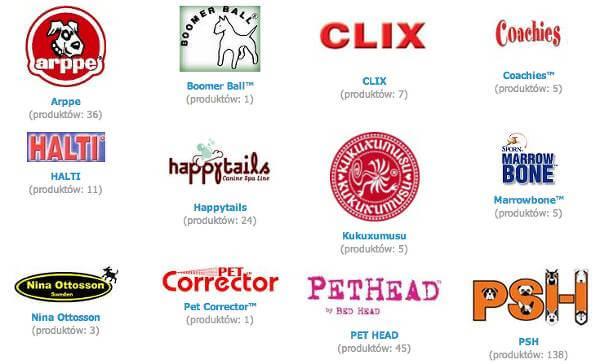 Marki dostępne w Animalix - zrzut ekranu.