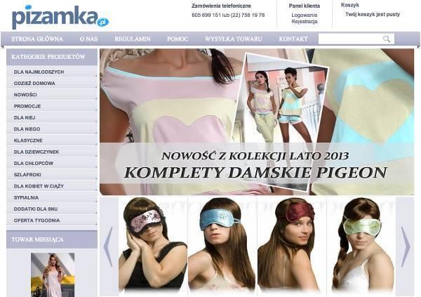Strona główna sklepu - zrzut ekranu.