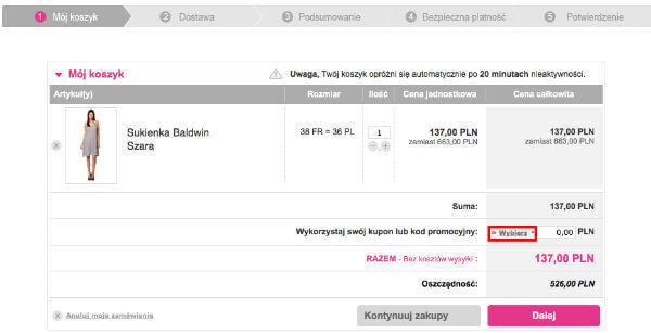koszyk Showroomprive.pl